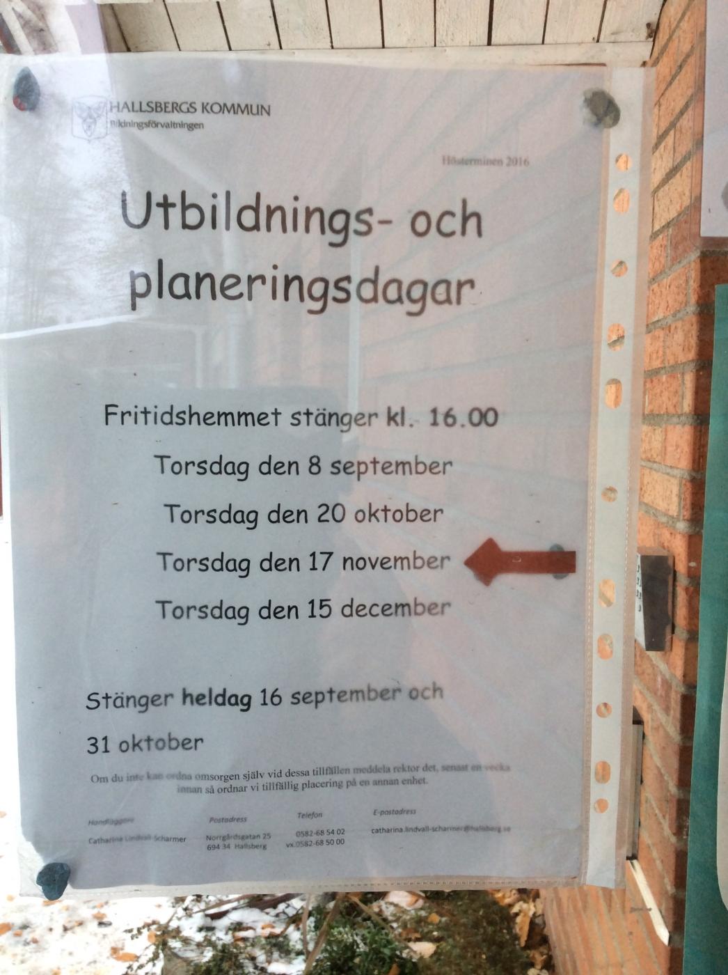 Fritids stänger kl 16:00 den 17/11